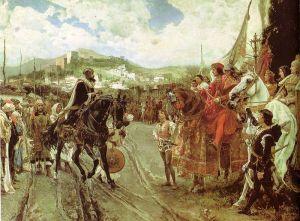 Boabdil, derradeiro rei de Granada, entrega as chaves da cidade a Fernando de Aragón e Isabel de Castela, os Reis Católicos