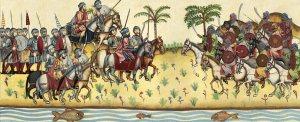 Batalla de Guadalete (711): Á esquerda as tropas do rei visigodo Don Rodrigo e á dereita o exército de Tarik, caudillo musulmán
