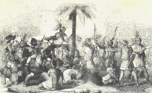 Batalla entre españoles e indios en una edición española de la conquista del Peru de Prescott.