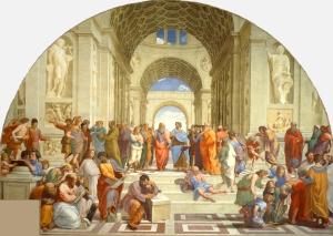 A escola de Atenas ( pintura de Rafael) amosa claramente o interés dos humanistas pola antigüedade clásica