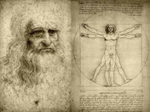 """Leonardo da Vinci (exemplo claro de humanista e renacentista) e o seu debuxo O home de Vitruvio ( o home coma """"medida de todas as cousas """")"""